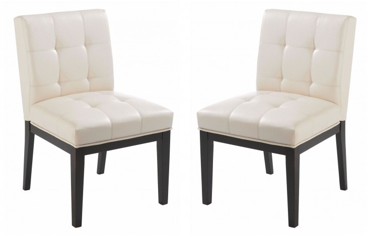 Felicia Cream Faux Leather Dining Chair Set of 2