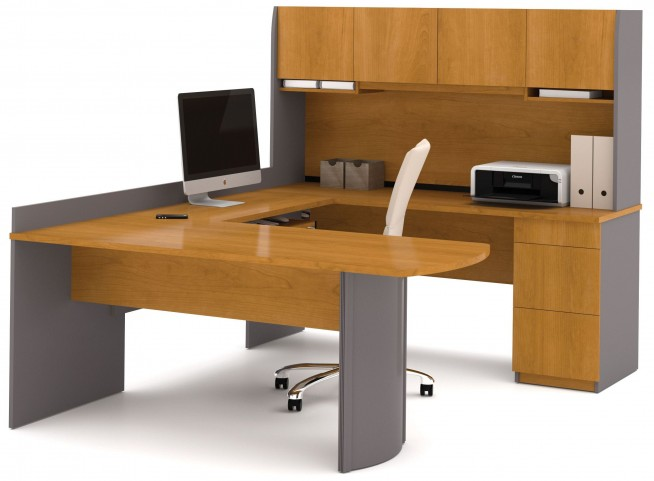 Executive Cappuccino Cherry & Slate U-Shaped Workstation