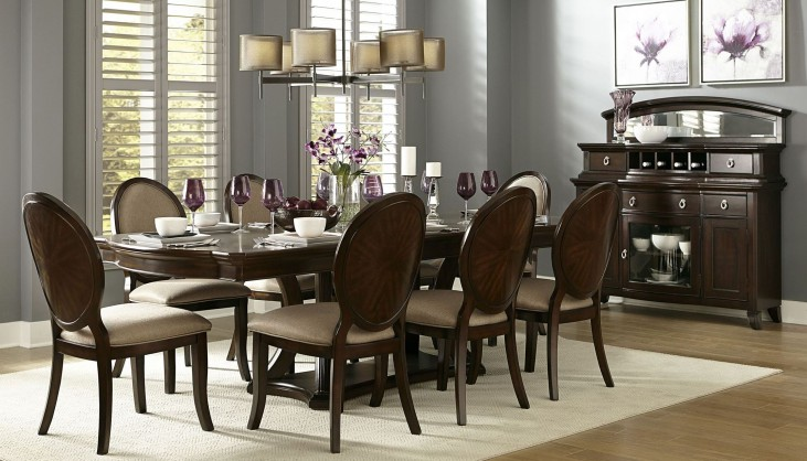 Delavan Rich Brown Cherry Extendable Dining Room Set