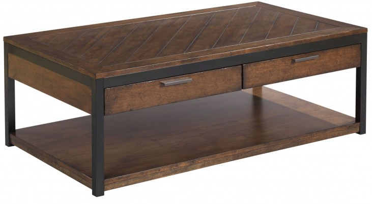 Franklin Warm Cherry 2 Drawer Rectangular Cocktail Table