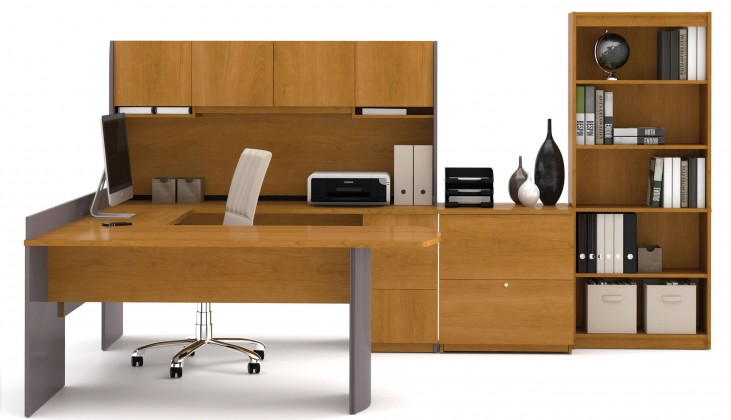 Executive Cappuccino Cherry & Slate U-shaped Workstation with Lateral File and Bookcase