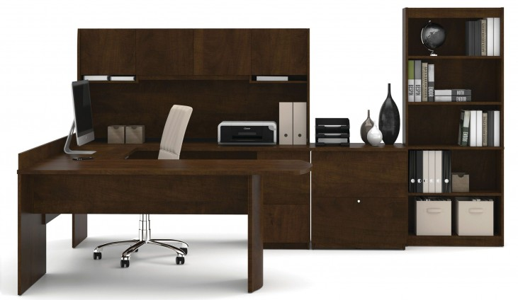 Executive Chocolate U-Shaped Workstation with Lateral File and Bookcase