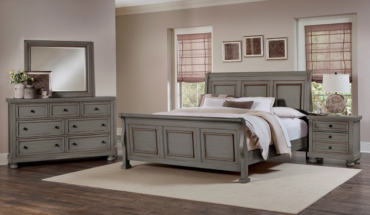 Reflections Antique Pewter Sleigh Bedroom Set
