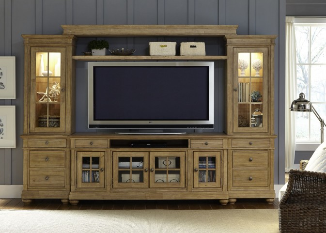 "Harbor View Sand Entertainment Wall with 74"" TV Console"
