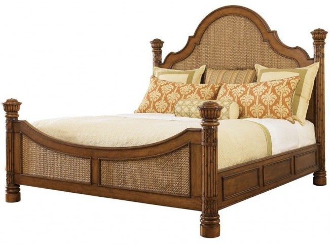 Island Estate Plantation Brown Round Hill Queen Poster Bed