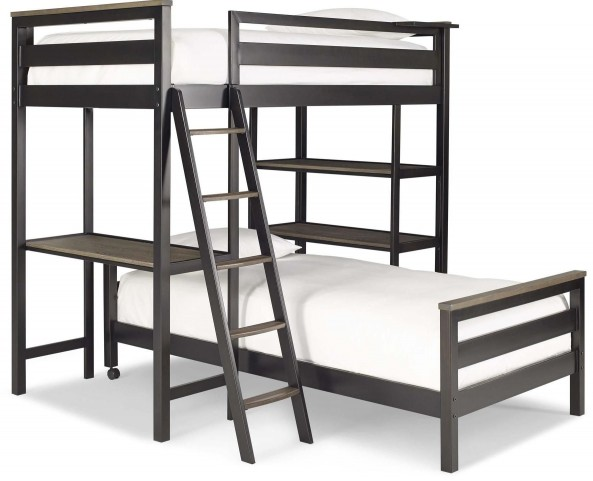 MyRoom Chalkboard and Backpack Twin Metal Loft Bunk Bed