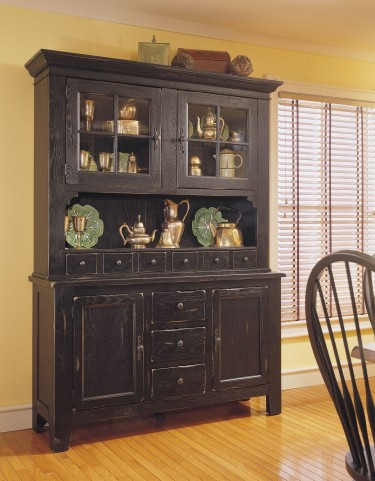 Attic Heirlooms Antique Black China Cabinet