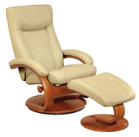Oslo Cobblestone Tan Top Grain Leather Recliner with Ottoman