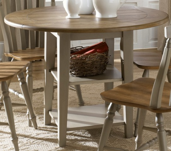 Al Fresco Driftwood and Taupe Drop Leaf Leg Dining Table