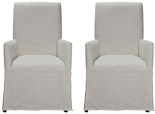 Sojourn Upholstered Summer White Arm Chair Set of 2