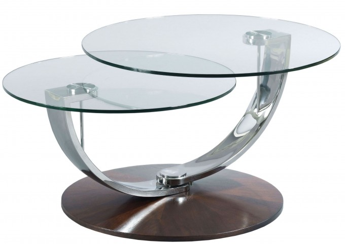 Pivot Walnut Veneers Round Cocktail Table
