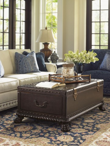 Island Traditions Windsor Harwick Leather Trunk Occasional Table Set
