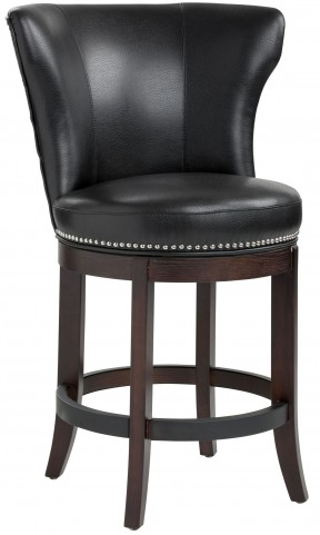 Tavern Black Leather Swivel Counter Stool
