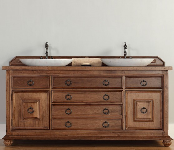 "Mykonos 72"" Cinnamon Double Vanity With 4Cm Black Granite Top"