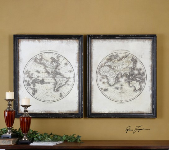 Global Vintage Art Set of 2