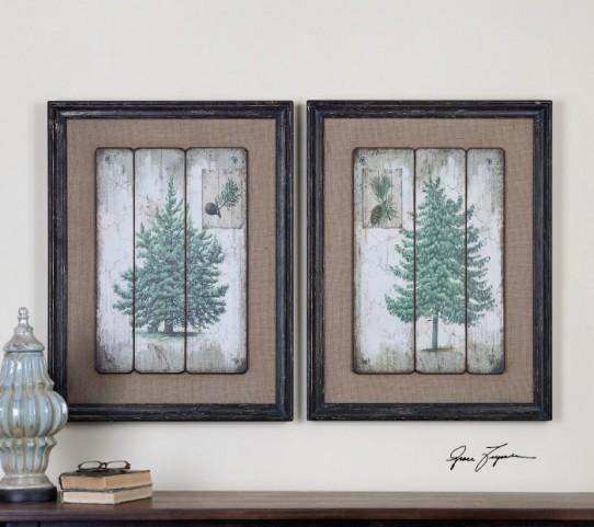Evergreens Vintage Art Set of 2