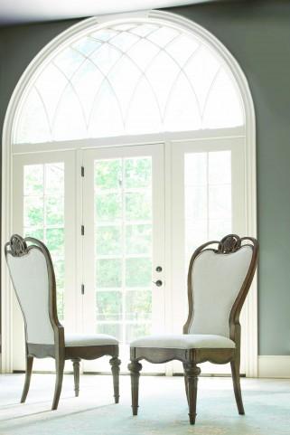 Renaissance Waxed Oak Upholstered Back Side Chair Set of 2