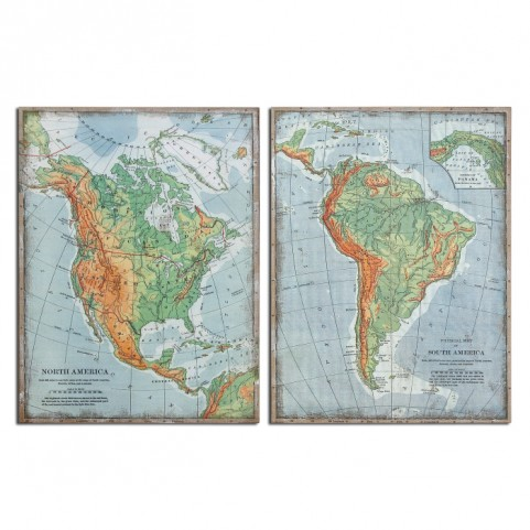 The Americas Vintage Art Set of 2