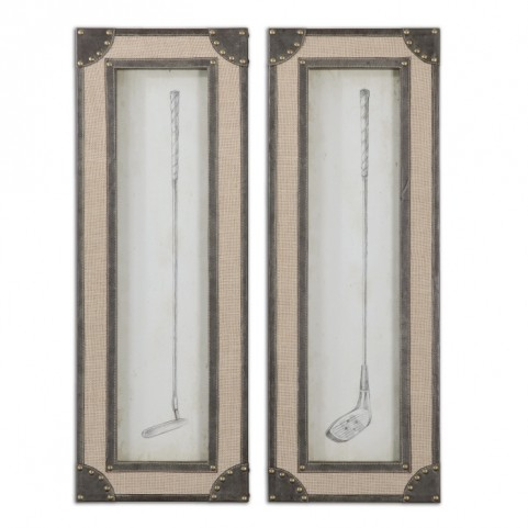 Vintage Golf Clubs Framed Art Set of 2
