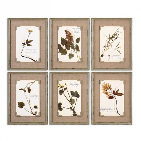 Ceramic Florals Framed Art Set of 6