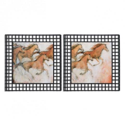 Horse Fresco Framed Art Set of 2