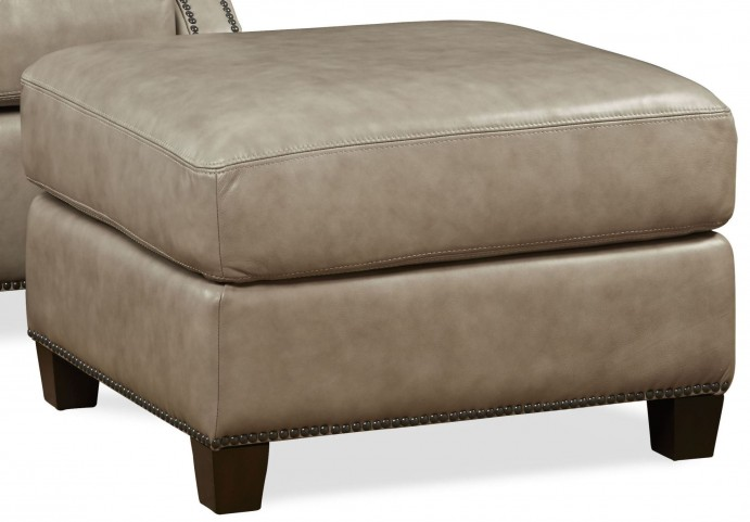 Kingston Vintage Cameo Light Gray Leather Ottoman