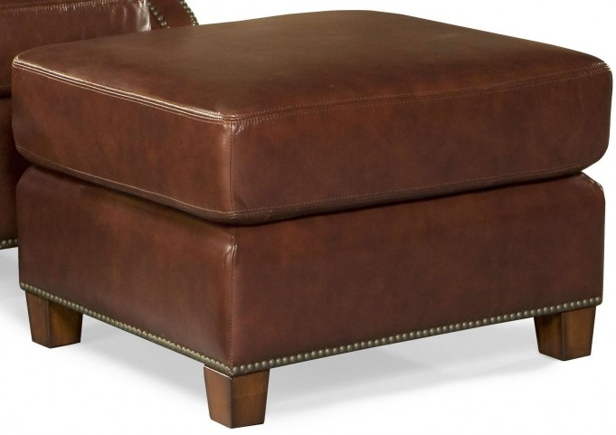 Kingston Vintage Auburn Leather Ottoman