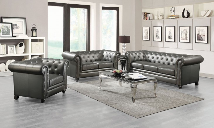 Roy Gunmetal Living Room Set