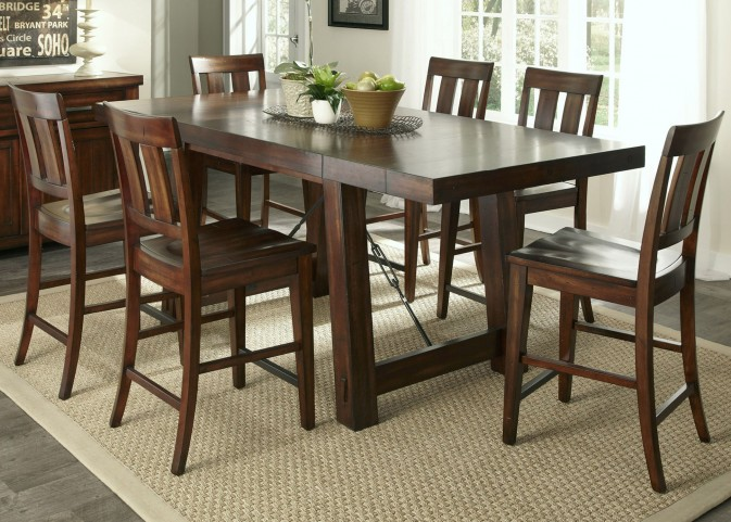 Tahoe Mahogany Stain Gathering Dining Room Set