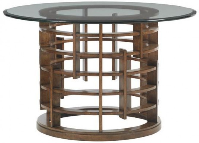 """Island Fusion 60"""" Meridian Round Glass Dining Table"""