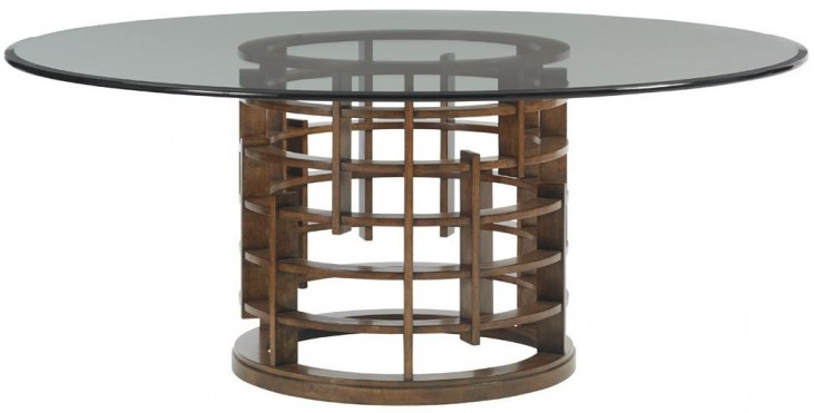 "Island Fusion 72"" Meridian Round Glass Dining Table"