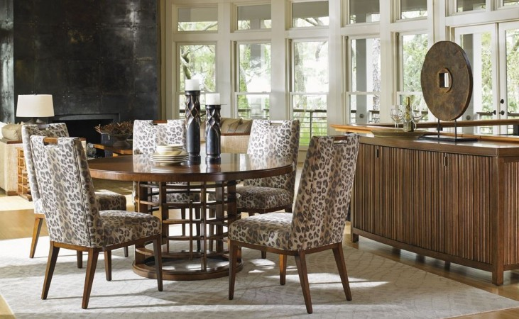 "Island Fusion 60"" Meridian Round Wood Dining Room Set"