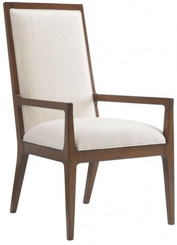 Island Fusion Natori Off  White Fabric Slat Back Arm Chair