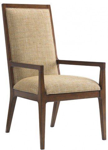 Island Fusion Natori Gold Geometric Fabric Slat Back Arm Chair