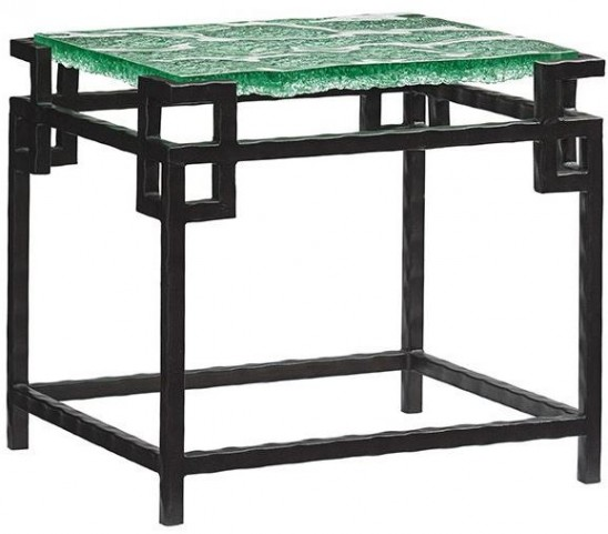 Island Fusion Hermes Reef Glass Top End Table