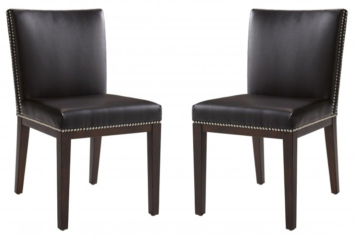 Vintage Brown Leather Dining Chair Set of 2