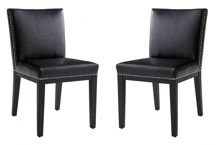 Vintage Black Leather Dining Chair Set of 2