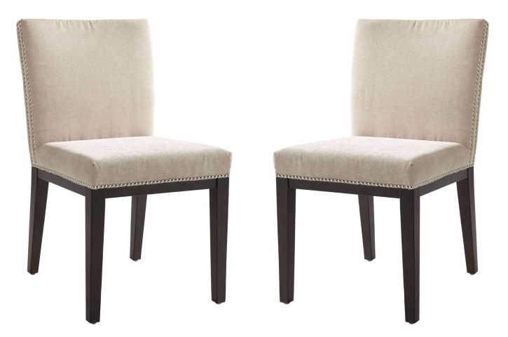 Vintage Linen Fabric Dining Chair Set of 2