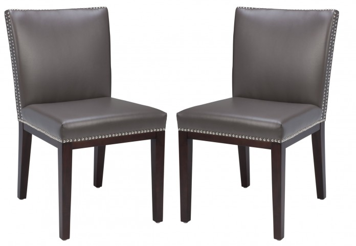 Vintage Leather Grey Dining Chair Set of 2