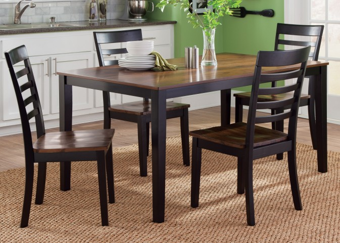Cafe Black and Cherry Rectangular Leg Dining Room Set