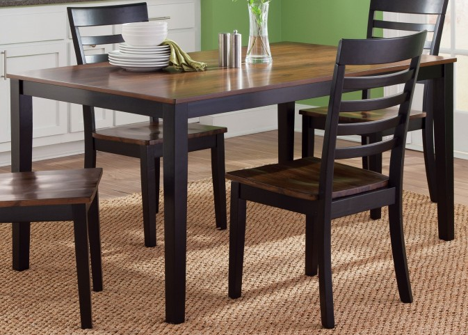 Cafe Black and Cherry Rectangular Leg Table