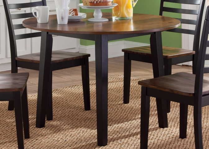 Cafe Black and Cherry Round Fixed Top Table