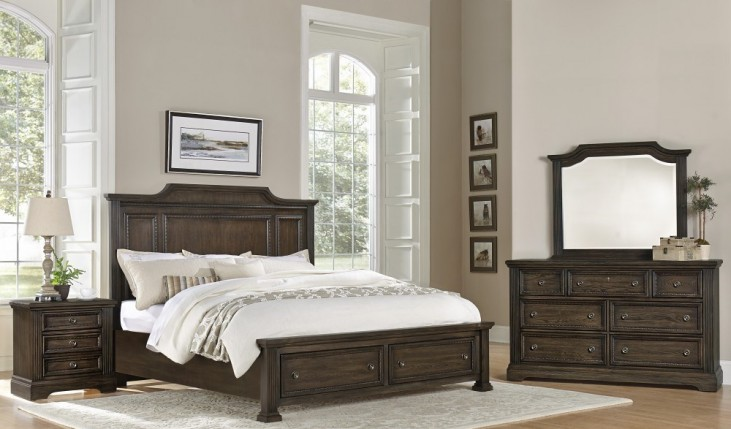 Affinity Dark Roast Mansion Storage Bedroom Set