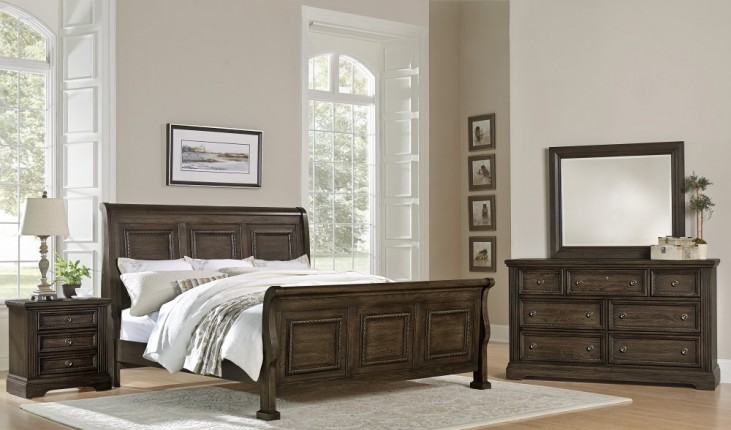 Affinity Dark Roast Sleigh Bedroom Set