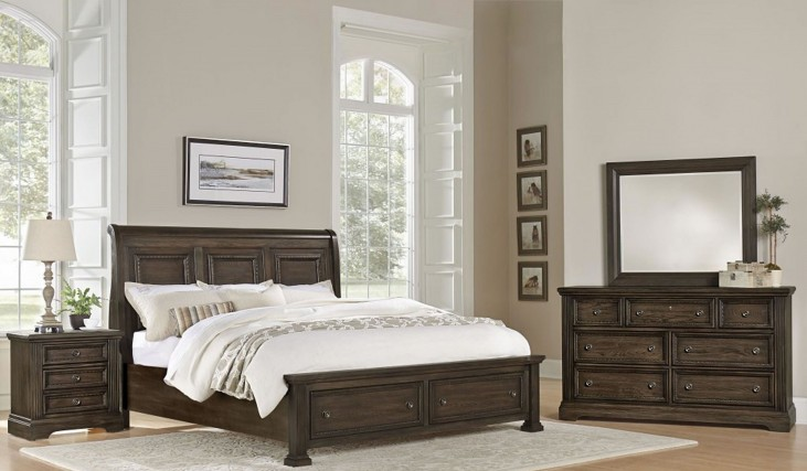 Affinity Dark Roast Sleigh Storage Bedroom Set