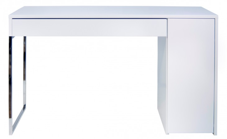 Prado White and Chrome Home Office Desk