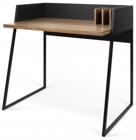 Volga Walnut and Pure Black Desk
