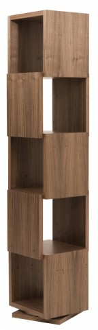 Shell Walnut Tall Rotating Shelving Unit