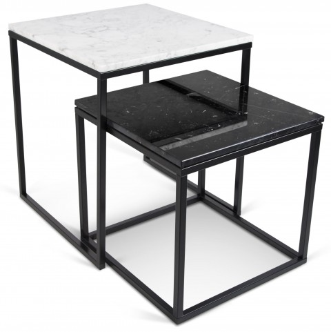 Prairie White Marble Top Nesting Tables