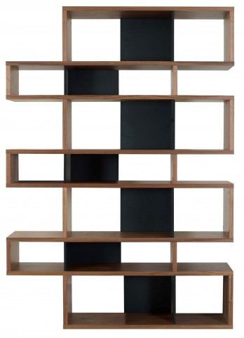 London Walnut Frame with Pure Black Backs 14 Shelf Bookcase